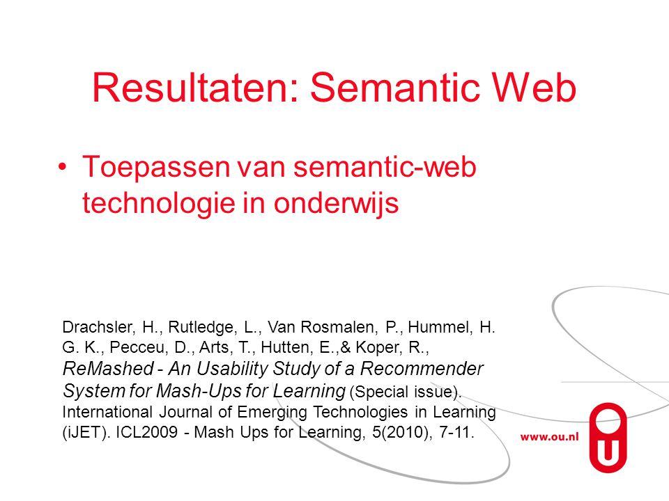 Resultaten: Semantic Web