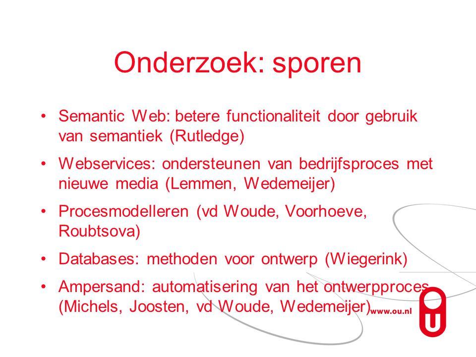 Onderzoek: sporen Semantic Web: betere functionaliteit door gebruik van semantiek (Rutledge)
