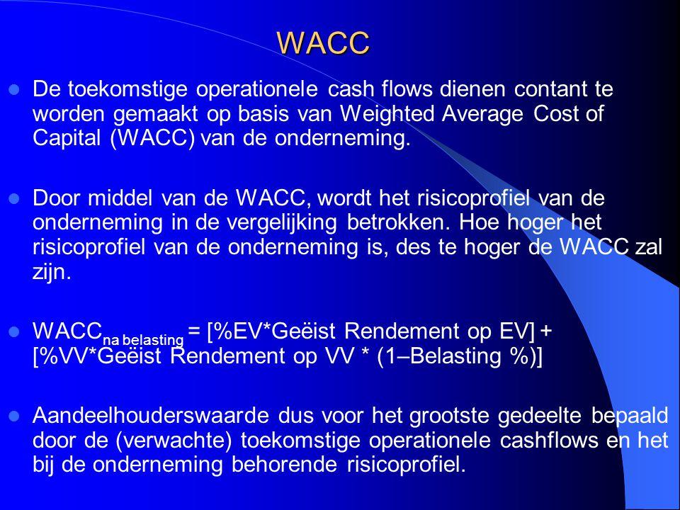 WACC De toekomstige operationele cash flows dienen contant te worden gemaakt op basis van Weighted Average Cost of Capital (WACC) van de onderneming.