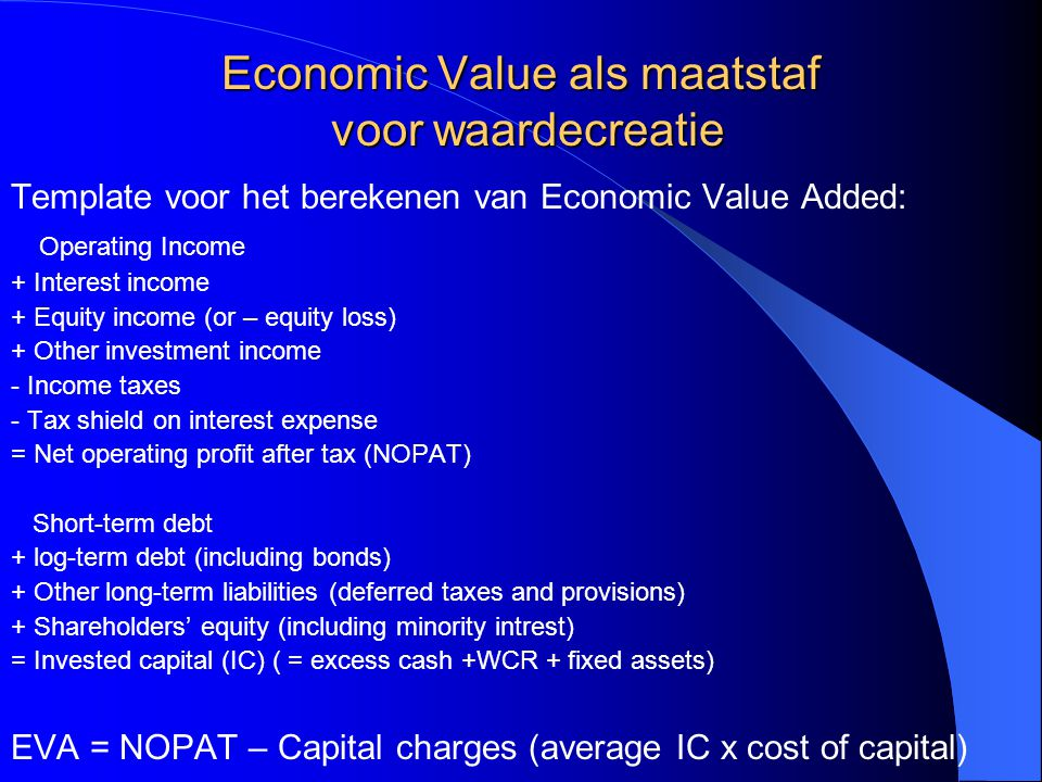 Economic Value als maatstaf voor waardecreatie