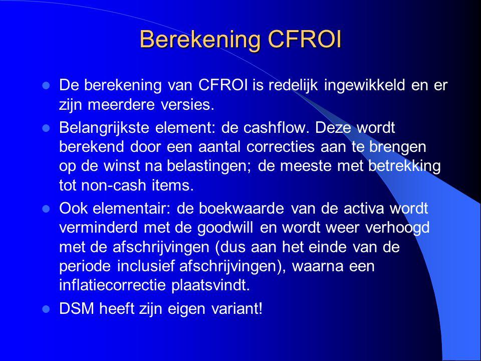 Berekening CFROI De berekening van CFROI is redelijk ingewikkeld en er zijn meerdere versies.