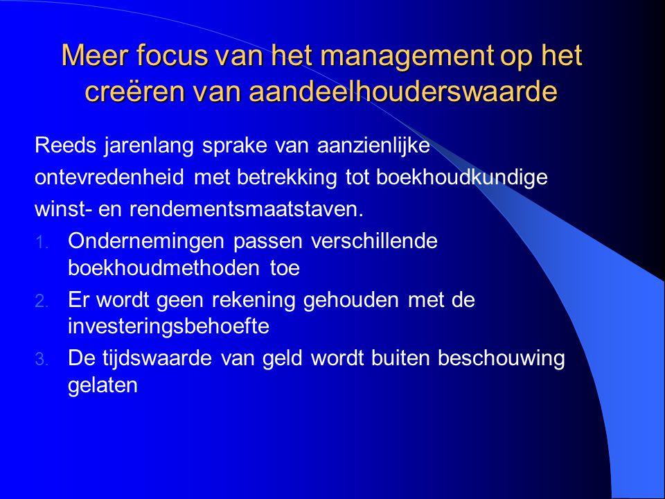 Meer focus van het management op het creëren van aandeelhouderswaarde