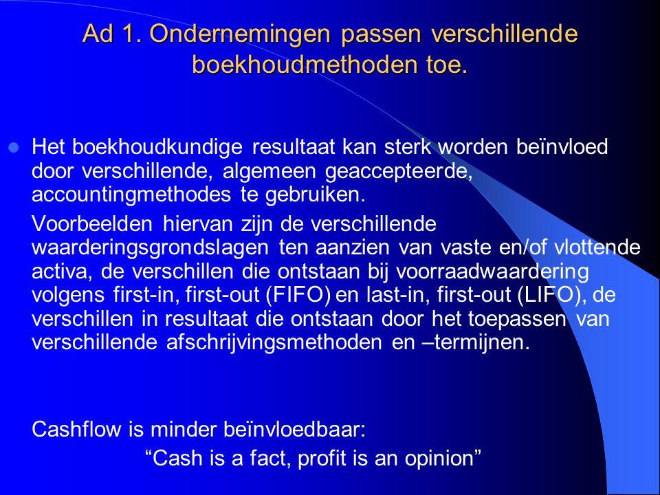Ad 1. Ondernemingen passen verschillende boekhoudmethoden toe.