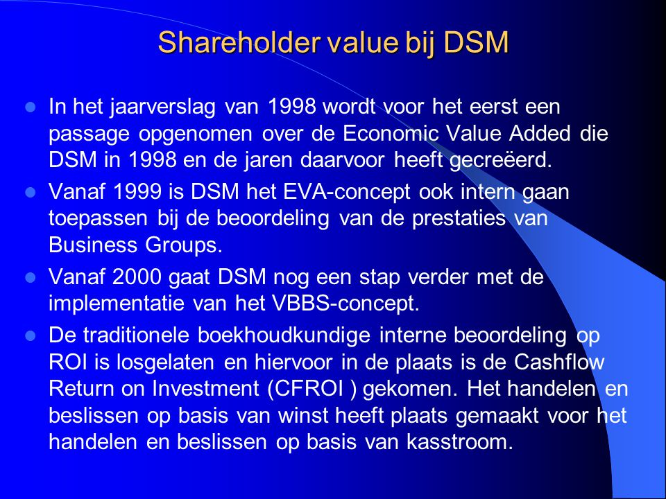 Shareholder value bij DSM