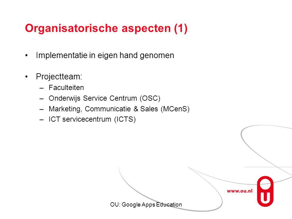 Organisatorische aspecten (1)