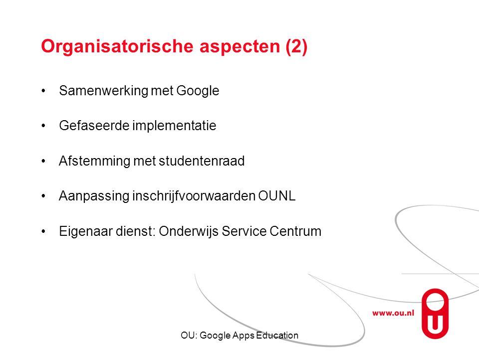 Organisatorische aspecten (2)