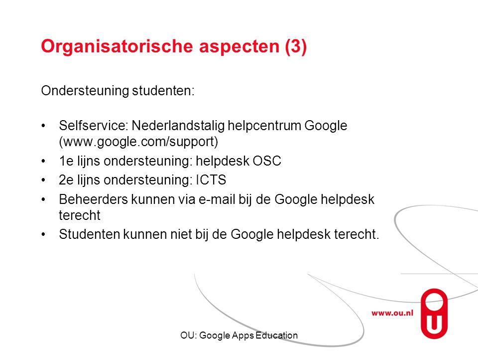 Organisatorische aspecten (3)