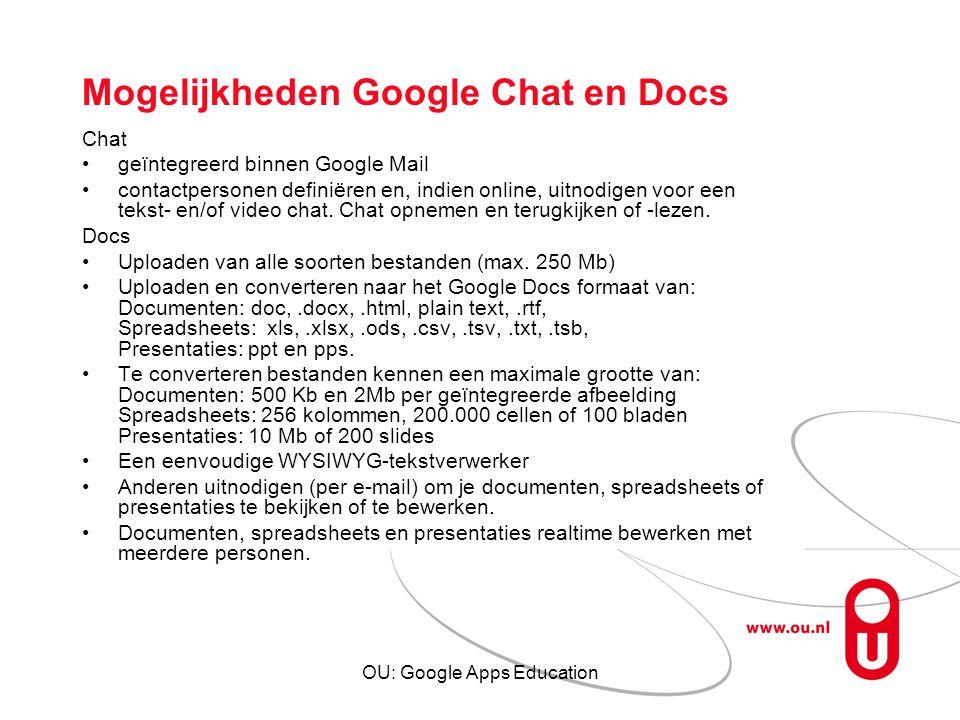 Mogelijkheden Google Chat en Docs