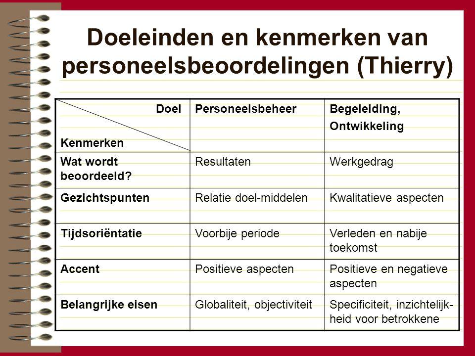 Doeleinden en kenmerken van personeelsbeoordelingen (Thierry)