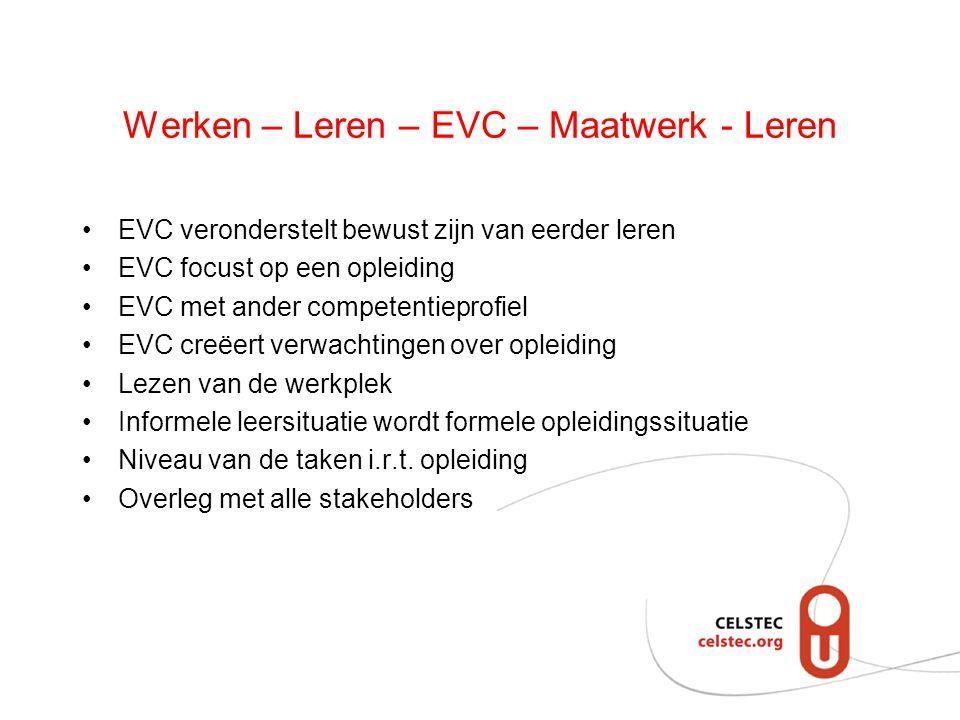 Werken – Leren – EVC – Maatwerk - Leren