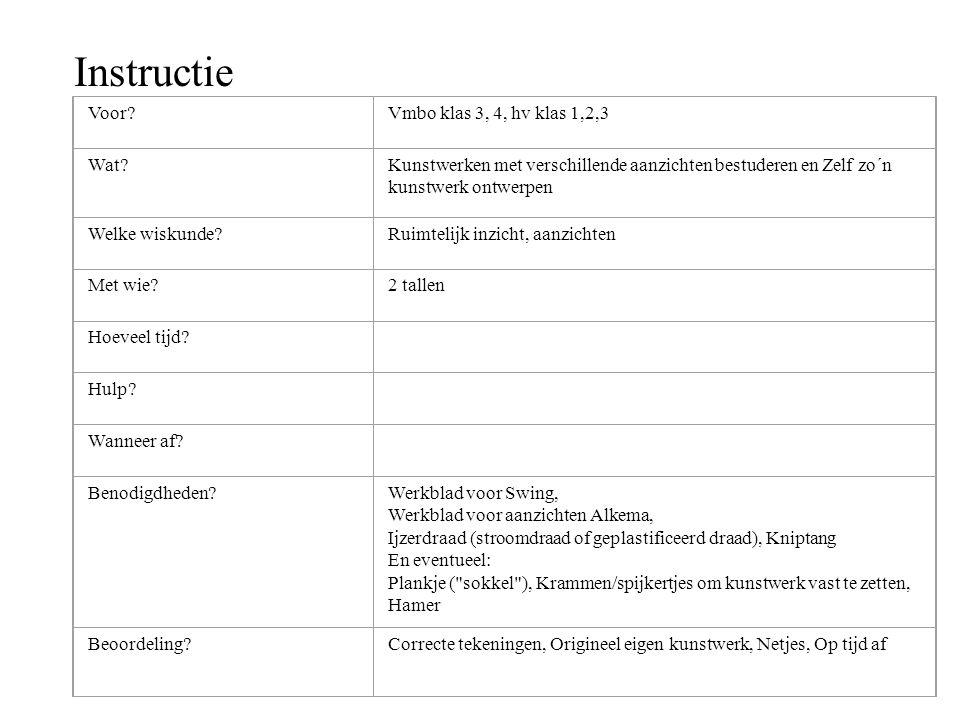 Instructie Voor Vmbo klas 3, 4, hv klas 1,2,3 Wat