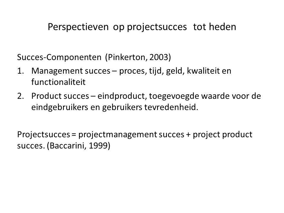 Perspectieven op projectsucces tot heden