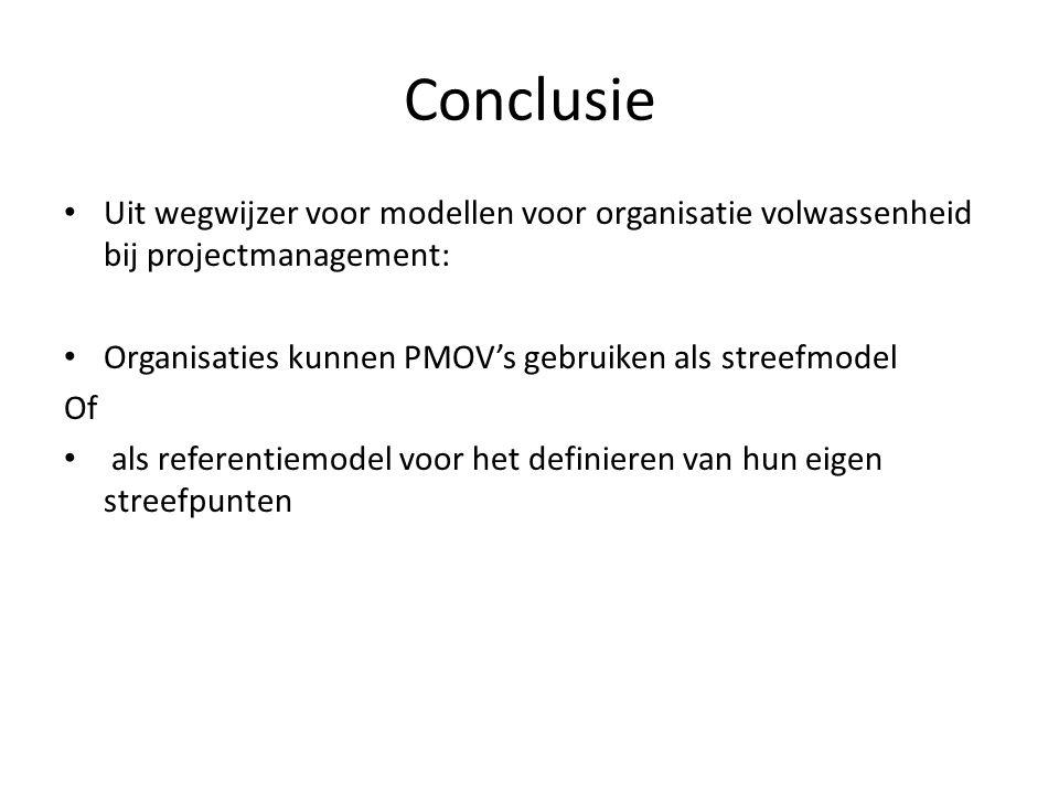 Conclusie Uit wegwijzer voor modellen voor organisatie volwassenheid bij projectmanagement: Organisaties kunnen PMOV's gebruiken als streefmodel.