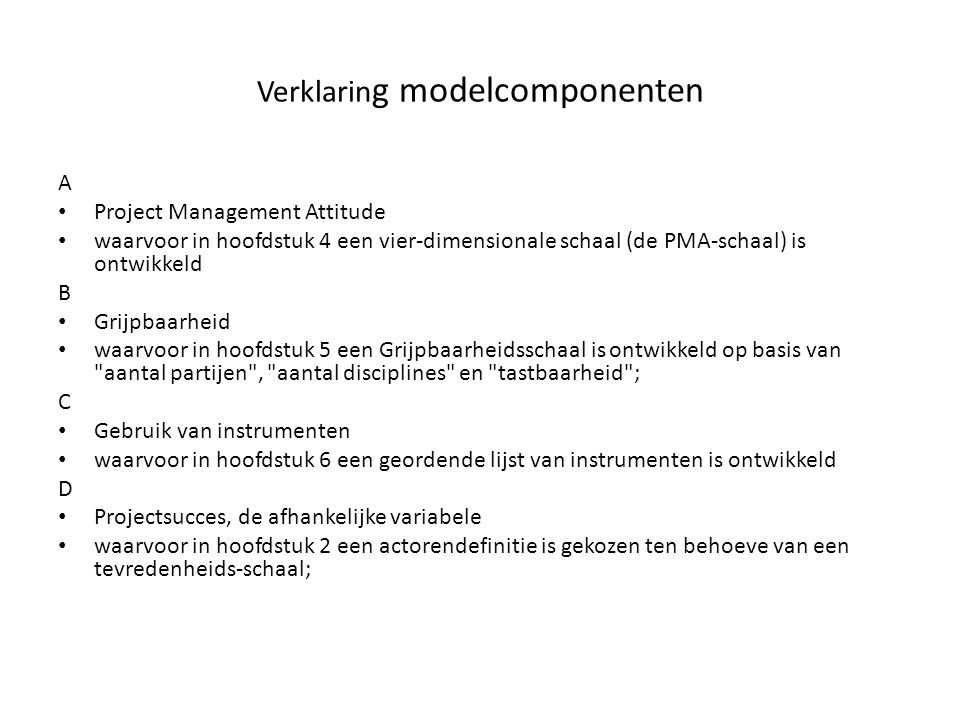 Verklaring modelcomponenten