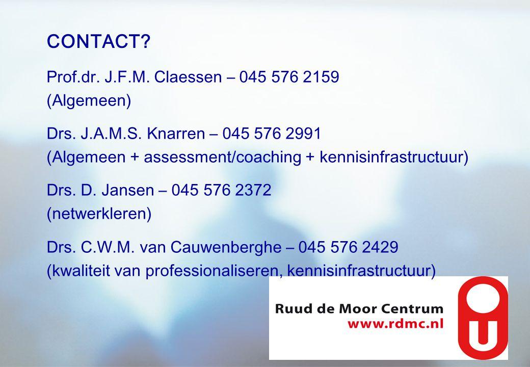 CONTACT Prof.dr. J.F.M. Claessen – 045 576 2159 (Algemeen)