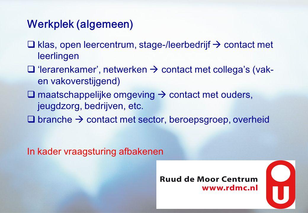 Werkplek (algemeen) klas, open leercentrum, stage-/leerbedrijf  contact met leerlingen.