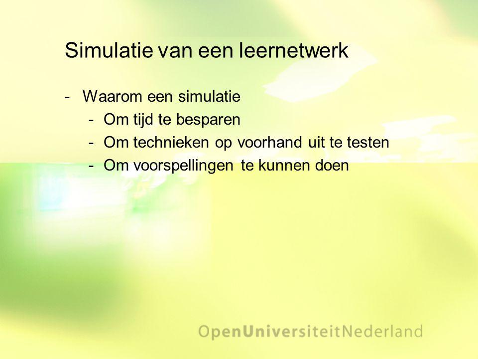 Simulatie van een leernetwerk