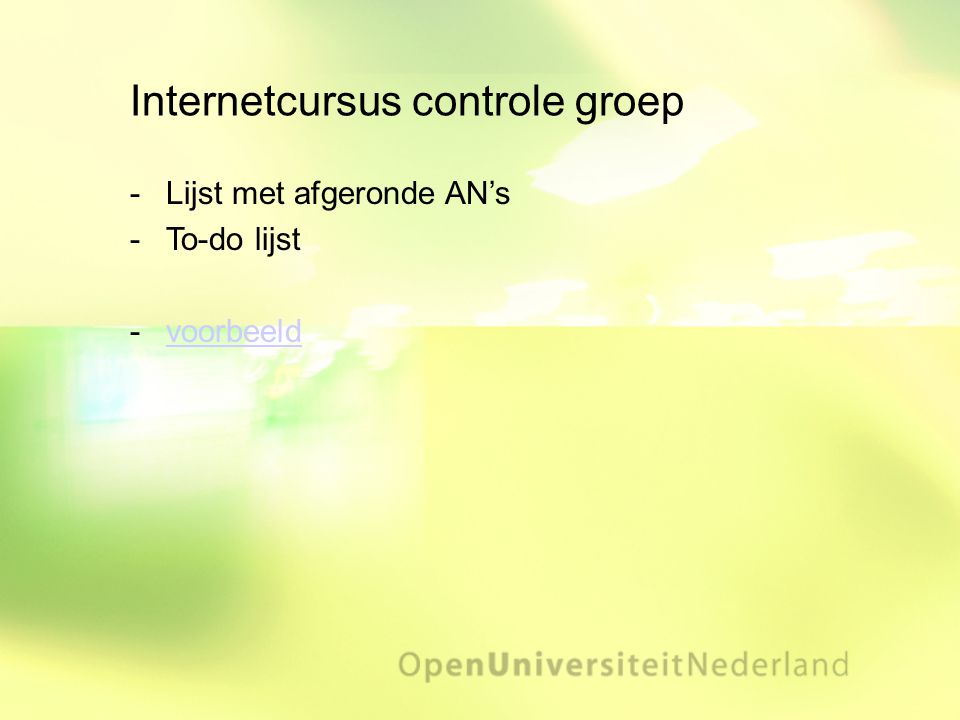 Internetcursus controle groep