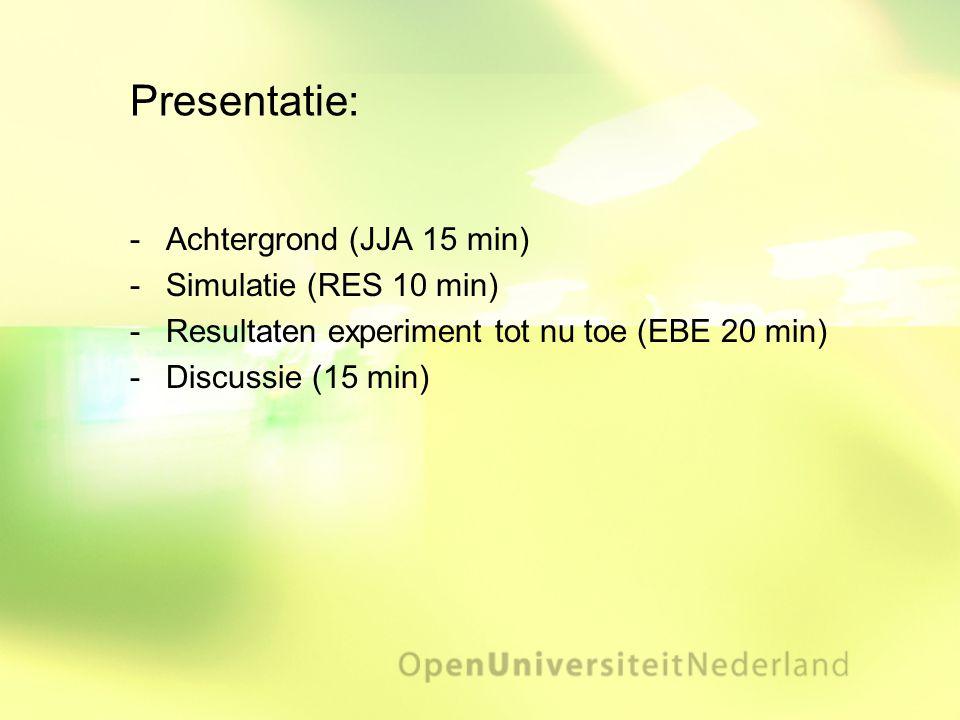 Presentatie: Achtergrond (JJA 15 min) Simulatie (RES 10 min)