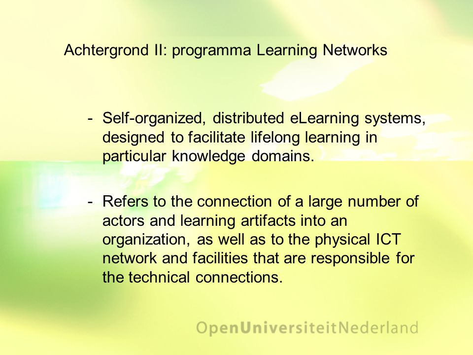 Achtergrond II: programma Learning Networks