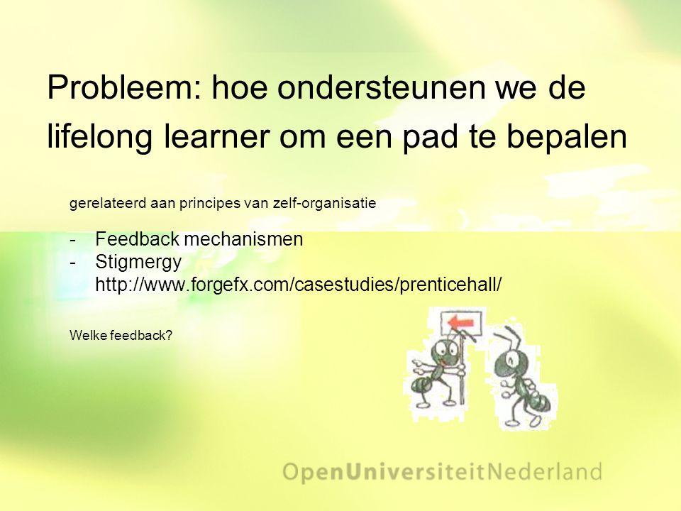 Probleem: hoe ondersteunen we de lifelong learner om een pad te bepalen