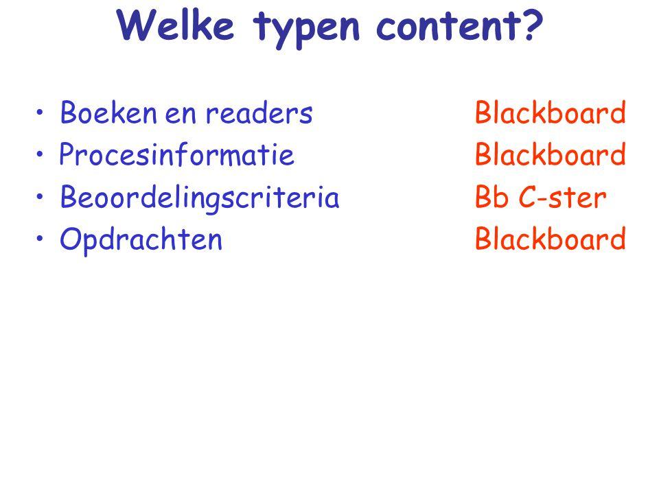 Welke typen content Boeken en readers Procesinformatie