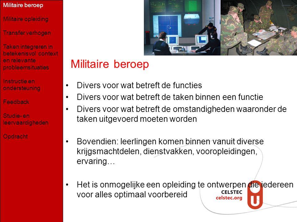 Militaire beroep Divers voor wat betreft de functies