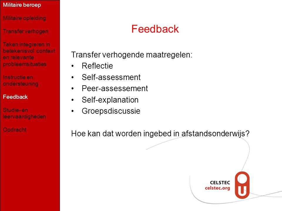 Feedback Transfer verhogende maatregelen: Reflectie Self-assessment