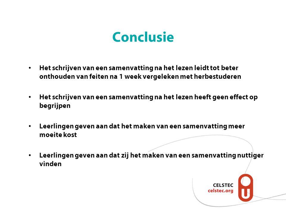 Conclusie Het schrijven van een samenvatting na het lezen leidt tot beter onthouden van feiten na 1 week vergeleken met herbestuderen.