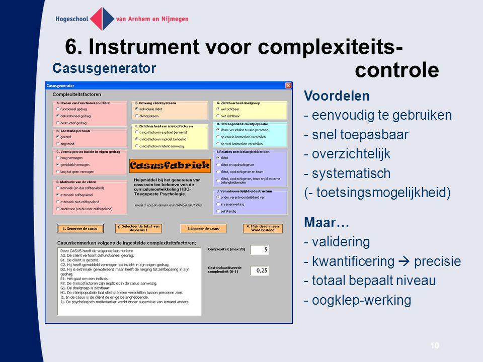 6. Instrument voor complexiteits- controle