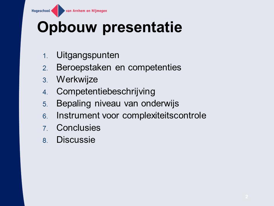 Opbouw presentatie Uitgangspunten Beroepstaken en competenties
