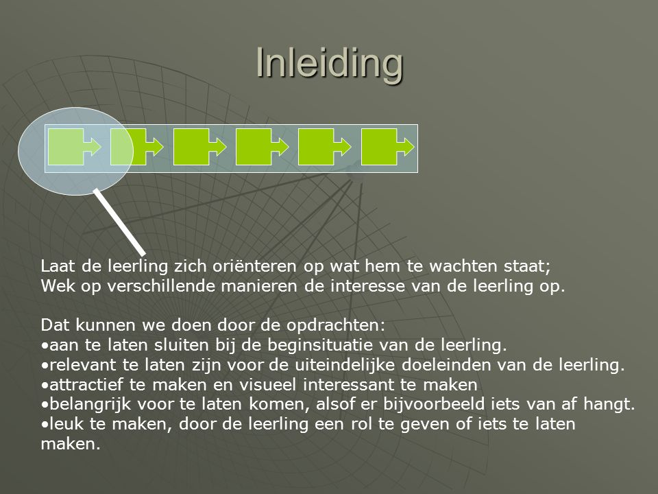 Inleiding Laat de leerling zich oriënteren op wat hem te wachten staat; Wek op verschillende manieren de interesse van de leerling op.