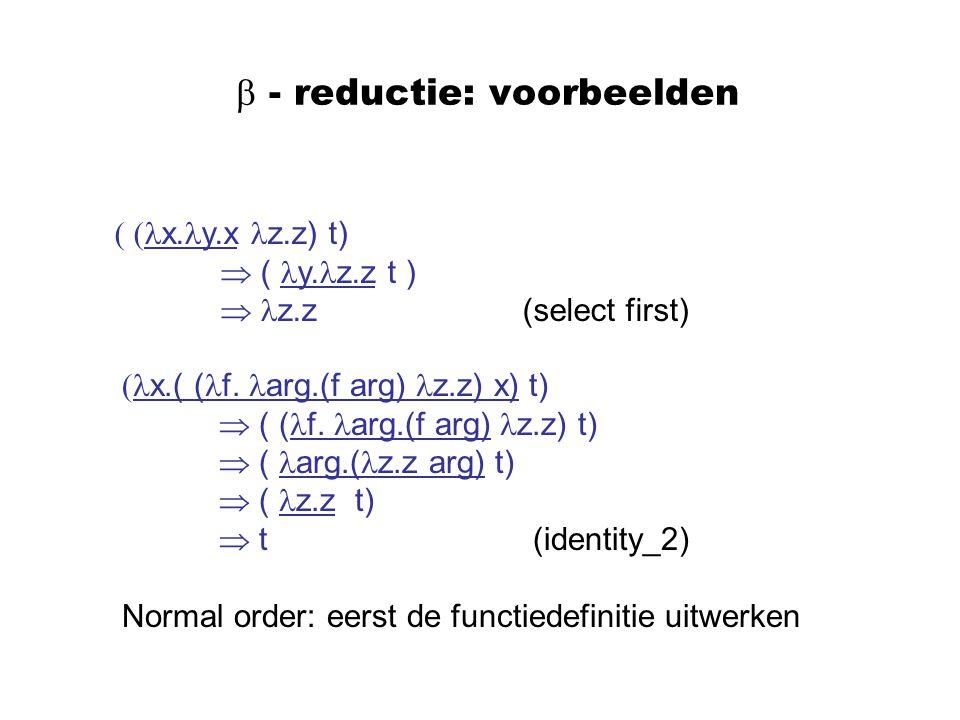 - reductie: voorbeelden