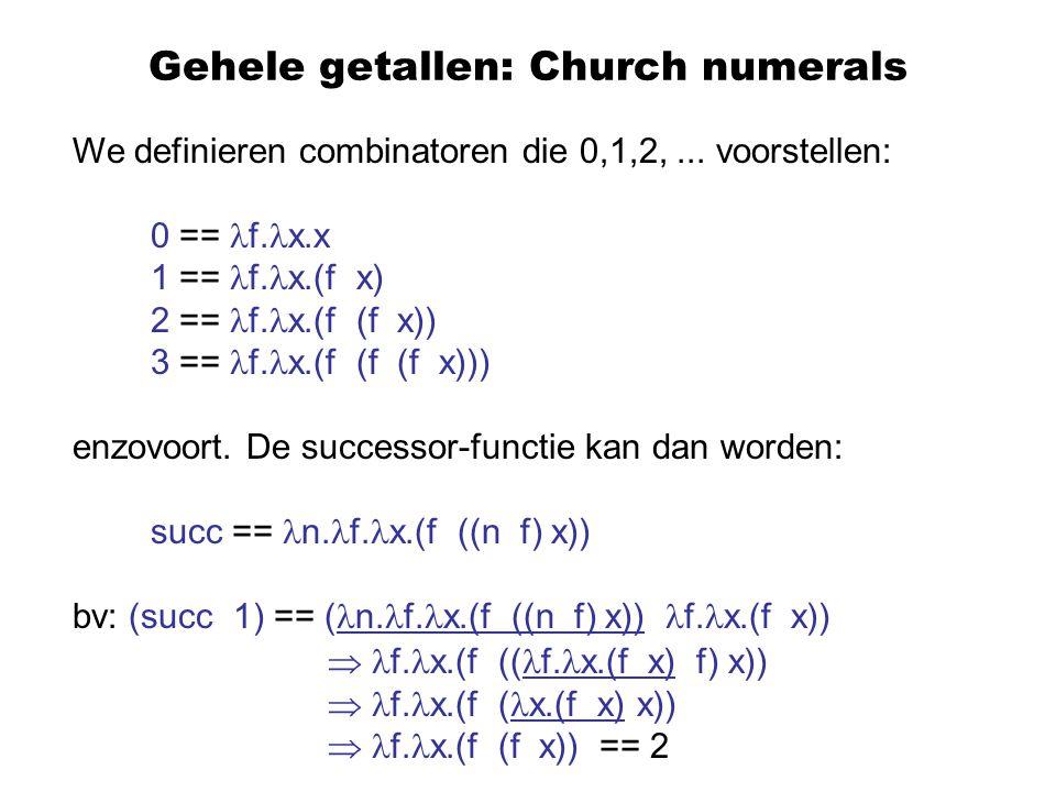 Gehele getallen: Church numerals