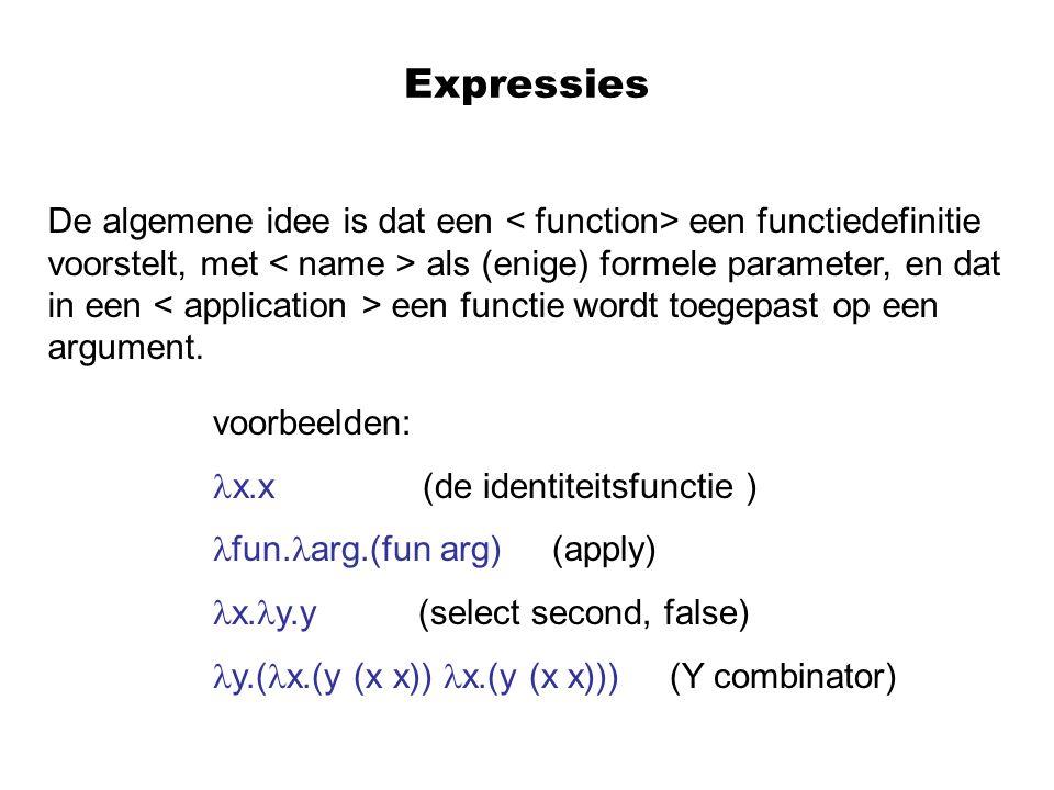 Expressies De algemene idee is dat een < function> een functiedefinitie.