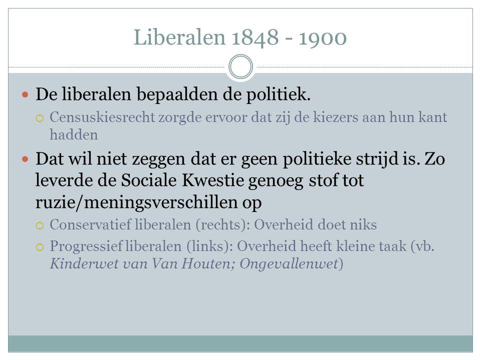 Liberalen 1848 - 1900 De liberalen bepaalden de politiek.
