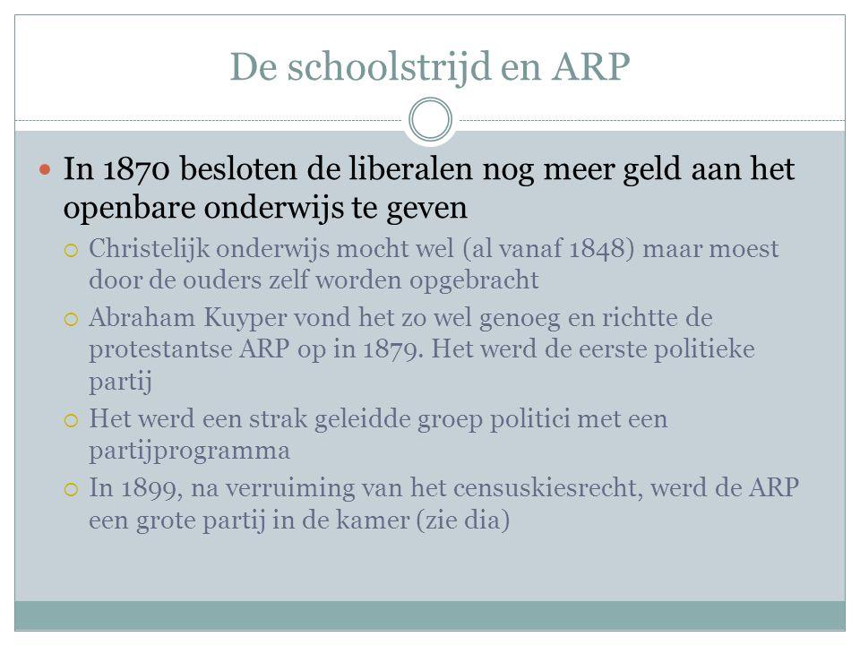 De schoolstrijd en ARP In 1870 besloten de liberalen nog meer geld aan het openbare onderwijs te geven.