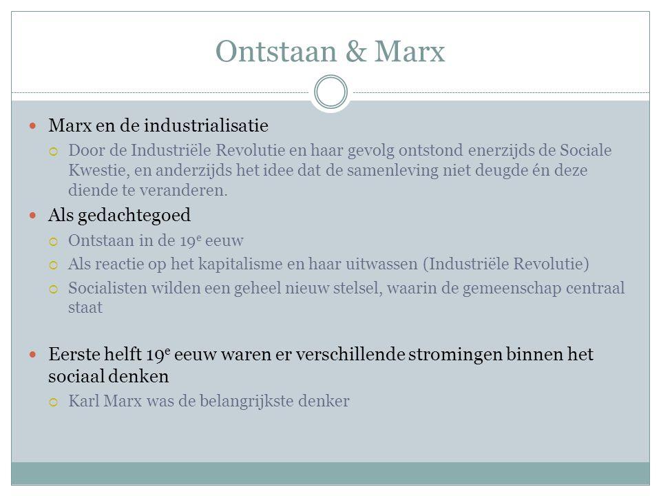 Ontstaan & Marx Marx en de industrialisatie Als gedachtegoed