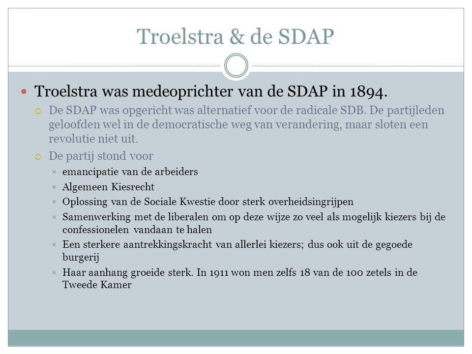 Troelstra & de SDAP Troelstra was medeoprichter van de SDAP in 1894.
