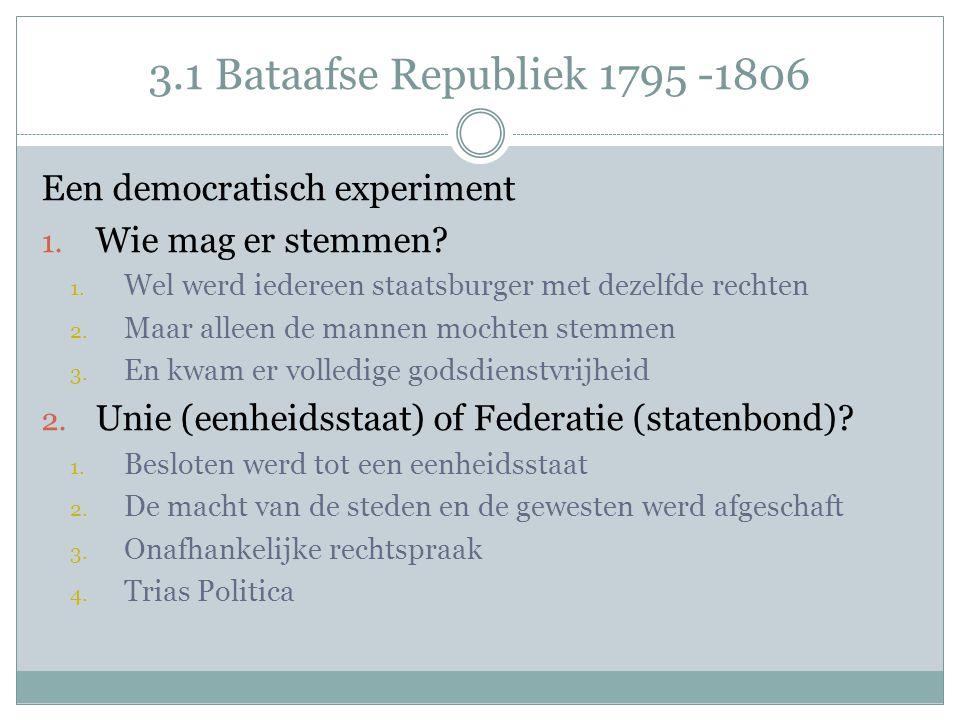 3.1 Bataafse Republiek 1795 -1806 Een democratisch experiment