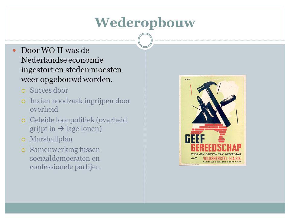 Wederopbouw Door WO II was de Nederlandse economie ingestort en steden moesten weer opgebouwd worden.