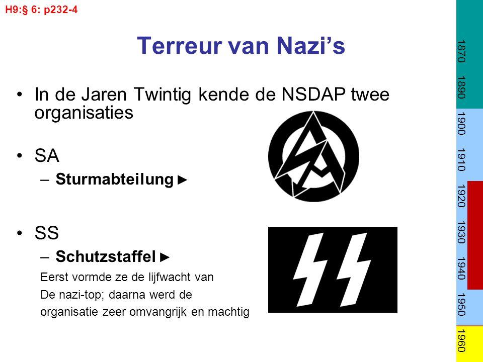 H9:§ 6: p232-4 1870. 1890. 1900. 1910. 1920. 1930. 1940. 1950. 1960. Terreur van Nazi's.