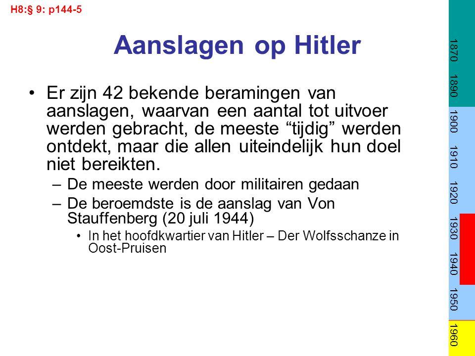 H8:§ 9: p144-5 1870. 1890. 1900. 1910. 1920. 1930. 1940. 1950. 1960. Aanslagen op Hitler.