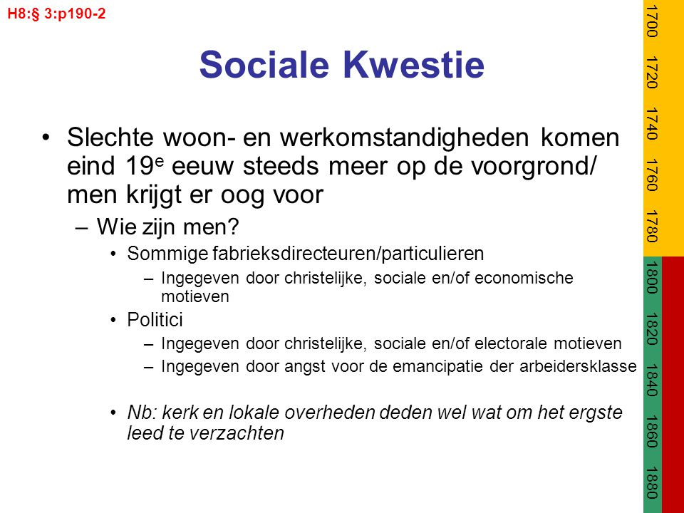 H8:§ 3:p190-2 1700. 1720. 1740. 1760. 1780. 1800. 1820. 1840. 1860. 1880. Sociale Kwestie.
