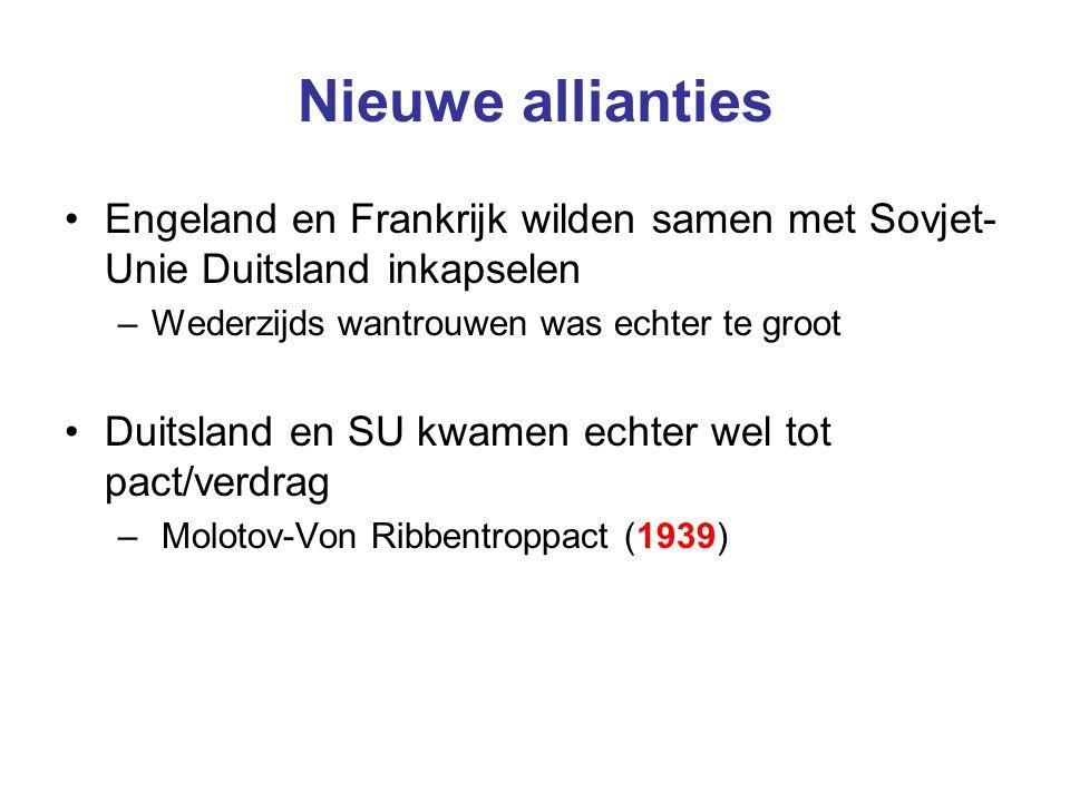 Nieuwe allianties Engeland en Frankrijk wilden samen met Sovjet-Unie Duitsland inkapselen. Wederzijds wantrouwen was echter te groot.