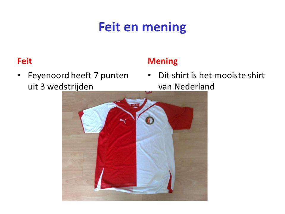 Feit en mening Feit Mening Feyenoord heeft 7 punten uit 3 wedstrijden