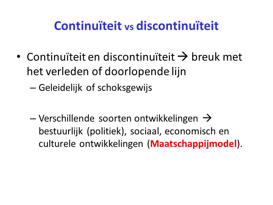 Continuïteit vs discontinuïteit
