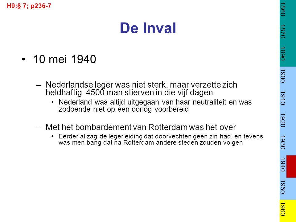 H9:§ 7; p236-7 1860. 1870. 1890. 1900. 1910. 1920. 1930. 1940. 1950. 1960. De Inval. 10 mei 1940.