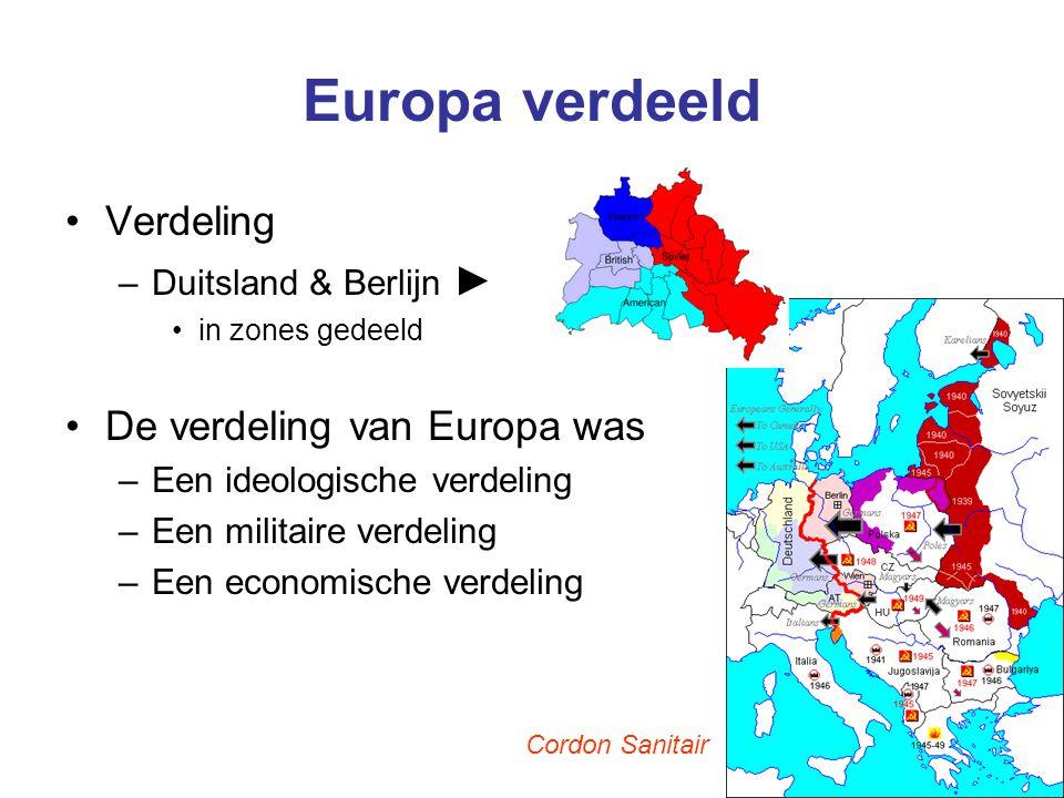 Europa verdeeld Verdeling De verdeling van Europa was