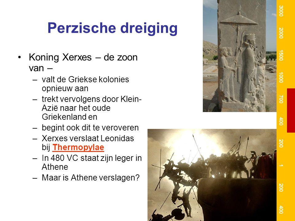 Perzische dreiging Koning Xerxes – de zoon van –